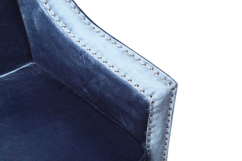 Iconic Home Camren Accent Chair Velvet Upholstered Nailhead Trim Tapered Espresso Wood Legs Navy