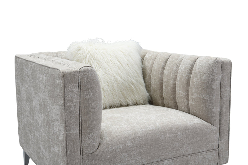 Iconic Home Montmarte Accent Chair Textured Fabric Channel-Quilted Silvertone Metal Legs Beige