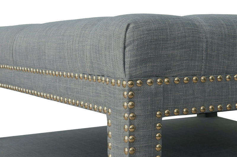 Iconic Home Bina Coffee Table Ottoman Tufted Linen Upholstered Nailhead Trim 2 Layer Bench Grey