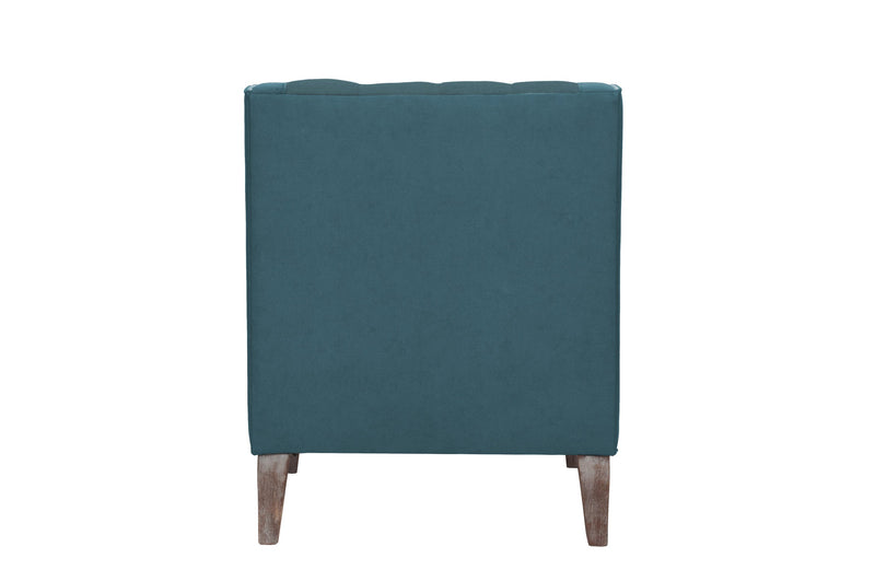 Iconic Home Ethan Accent Club Chair Linen PU Leather Button Tufted Nailhead Trim Wood Legs Blue