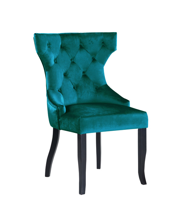Iconic Home Naomi Dining Chair Button Tufted Velvet Upholstered Espresso Wood Legs Teal (Set of 2)