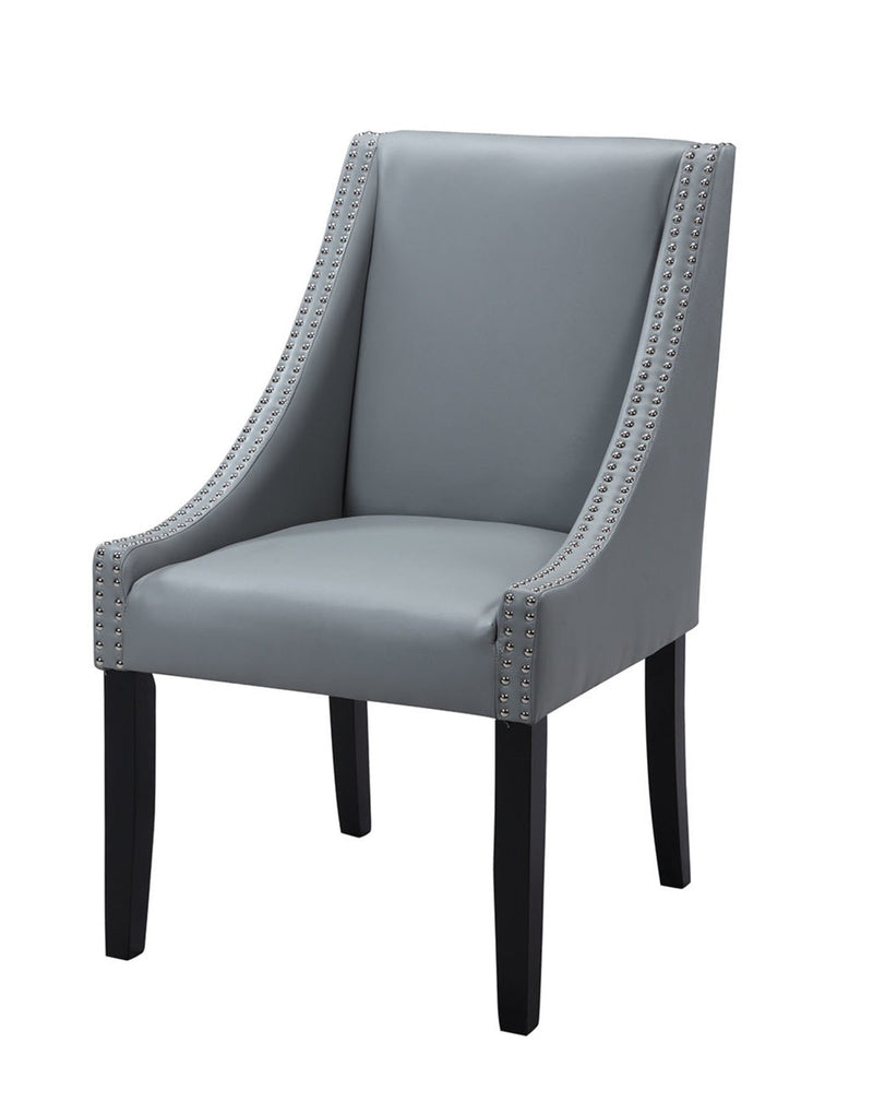 Iconic Home Lincoln Dining Side Chair PU Leather Upholstery Nailhead Trim Wood Legs Grey (Set of 2)