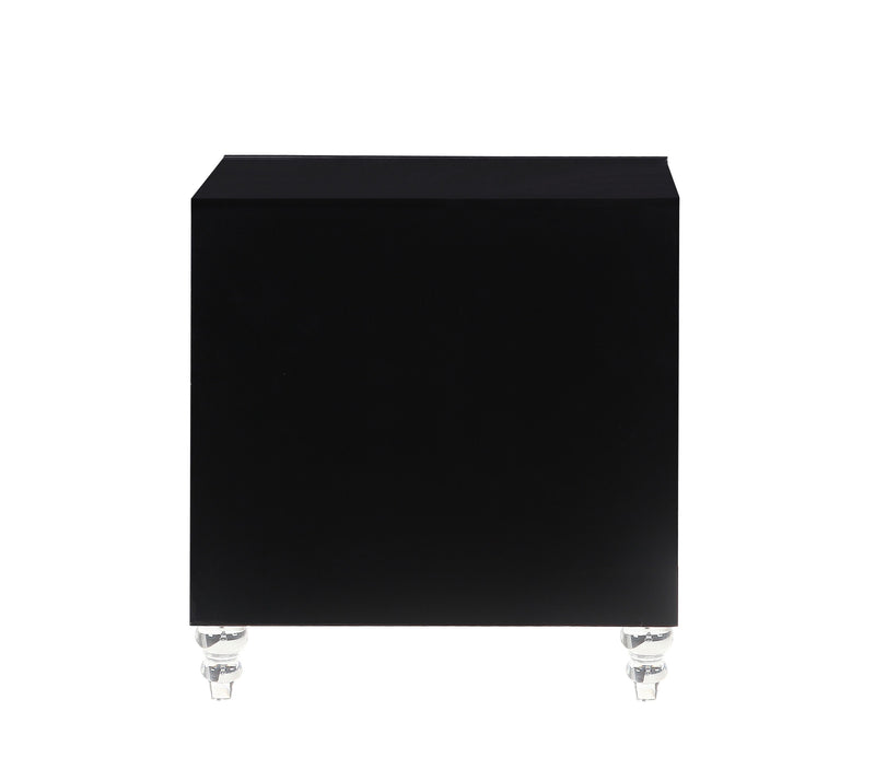 Iconic Home Bergamo Side Table Nightstand 3 Self Closing Mirror Drawers Acrylic Legs Black