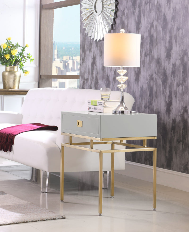 Iconic Home Genoa Neptune Rosso Banchi Neri Side Table Nightstand Brass Base Solid Frame Self Close Drawer Grey Main Image