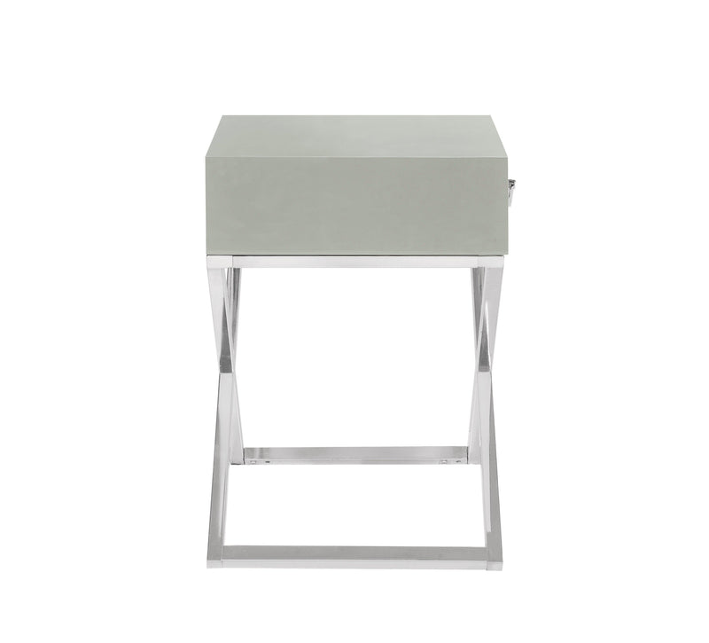 Iconic Home Ithaca Nightstand Side Table Self Closing Drawer Nickel Finished Metal X Frame Grey
