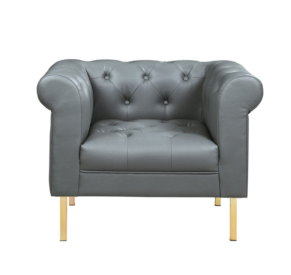 Iconic Home Giovanni Club Chair PU Leather Upholstered Button Tufted Gold Tone Metal Legs Grey