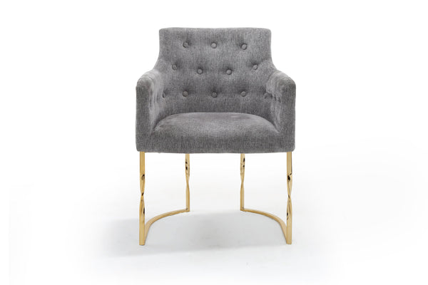 Iconic Home Amalfi Accent Chair Button Tufted Linen Upholstered Gold Tone Solid Metal Frame Grey