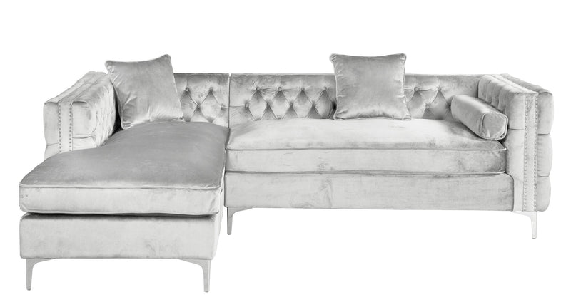 Iconic Home Da Vinci Button Tufted Velvet Left Facing Chaise Sectional Sofa Silver