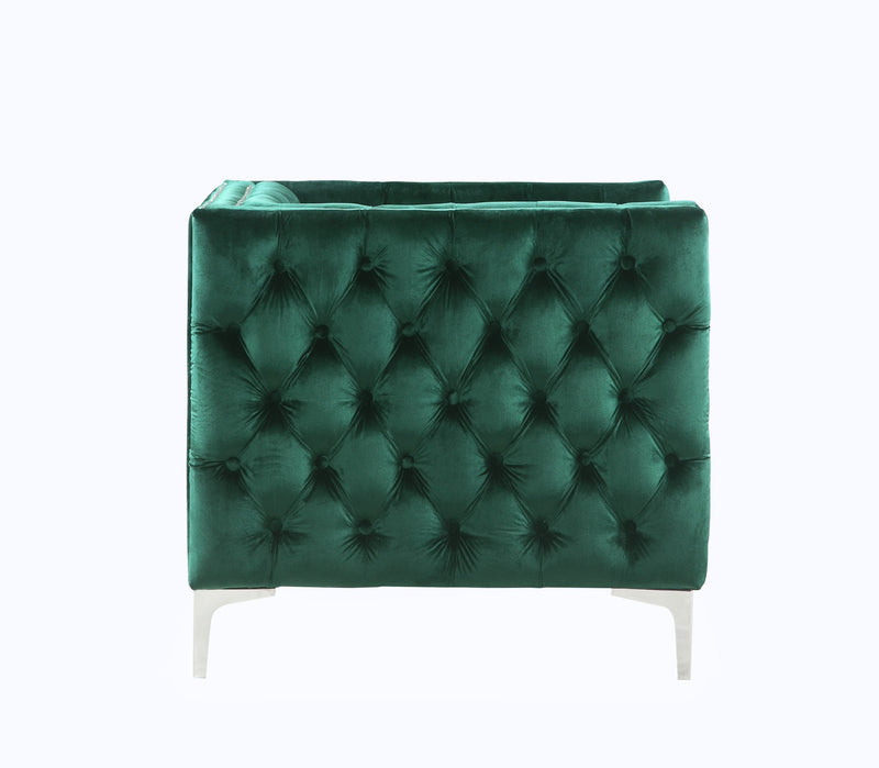 Iconic Home Da Vinci Button Tufted Velvet Upholstered Nail Head Trim Accent Club Chair Green