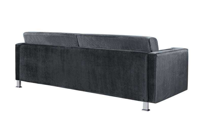 Iconic Home Amarillo Sleek Velvet Plush Sofa Grey