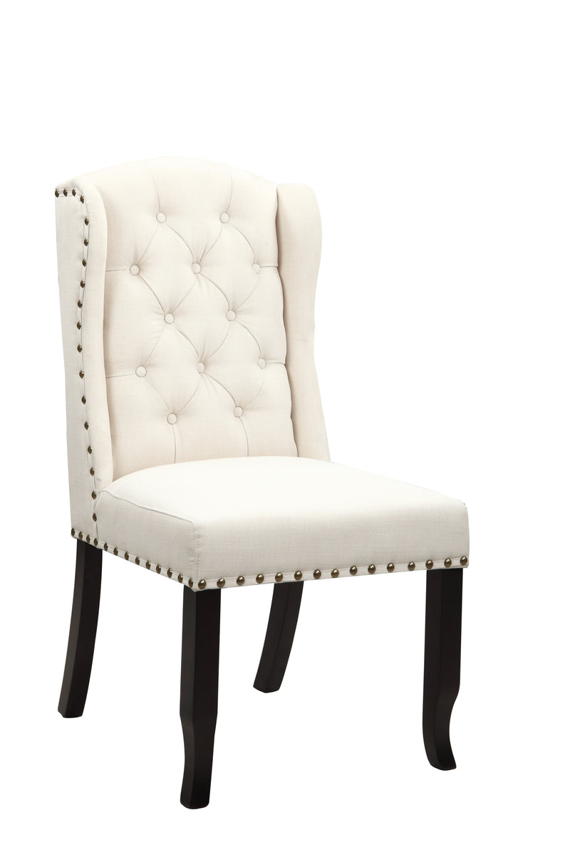 Iconic Home Shira Wingback Dining Chair Faux Linen Upholstery Nailhead Trim Wood Legs Beige Set of 2