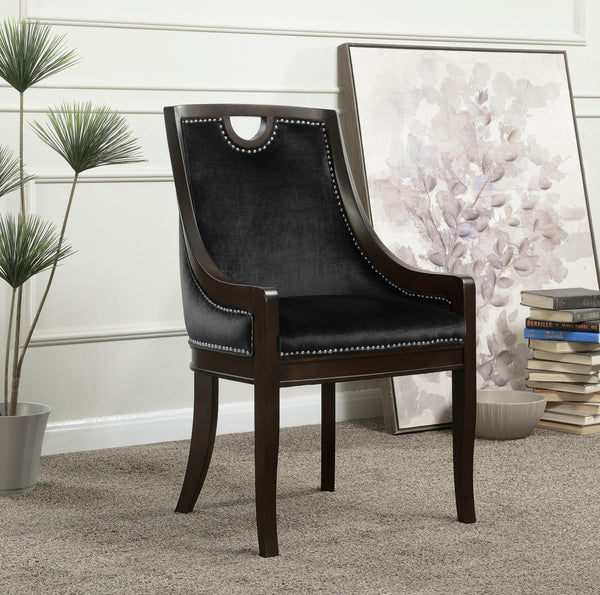 Iconic Home Owen Elijah Benjamin June Oscar Dining Side Chair Velvet Upholstered Nailhead Trim Espresso Wood Frame Legs (Set of 1) Black Main Image