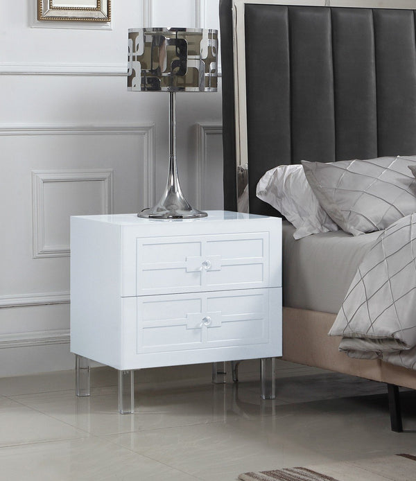 Iconic Home Naples Pompeii Assisi Lucca Amalfi Side Table Nightstand Self Closing Drawers Lacquer Finish Acrylic Legs White Main Image