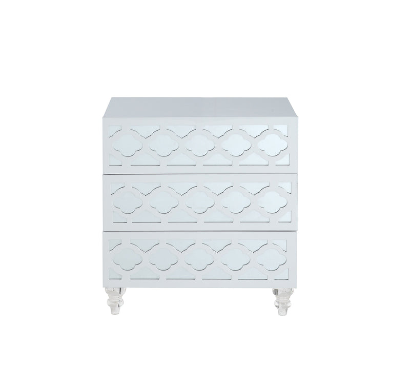 Iconic Home Bergamo Side Table Nightstand 3 Self Closing Mirror Drawers Acrylic Legs White