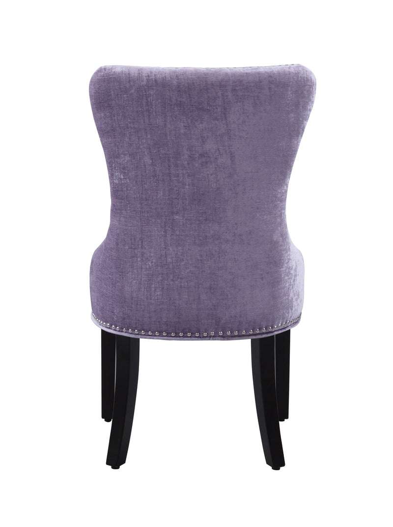 Iconic Home Diana Dining Chair Button Tufted Velvet Upholstery Espresso Wood Legs Purple (Set of 2)