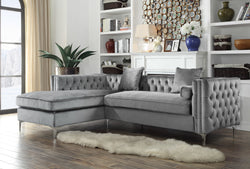 Iconic Home Da Vinci Michelangelo Picasso Monet Bosch Button Tufted Velvet Left Facing Chaise Sectional Sofa Grey Main Image
