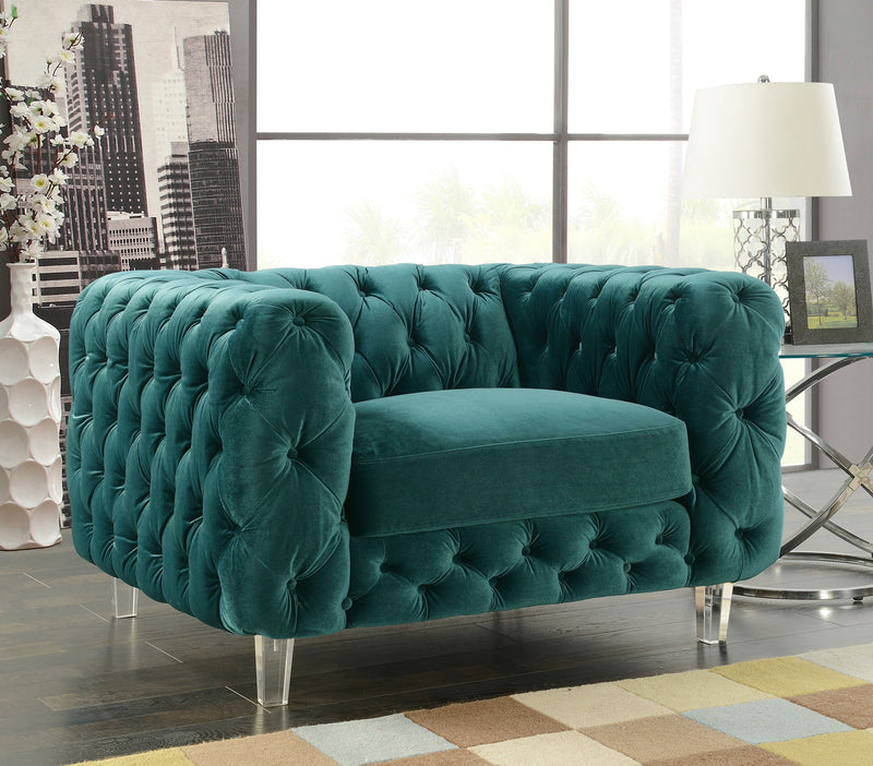 Iconic Home Syracus Castor Phobos Apollo Morgan Tufted Velvet Plush Accent Club Chair Green Main Image