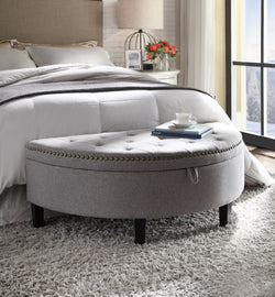 Iconic Home Jacqueline Eleanor Sarah Kelly Blair Storage Ottoman Half Moon Button Tufted Linen Upholstered Bench Grey Main Image