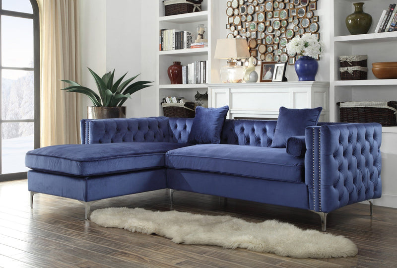 Iconic Home Da Vinci Michelangelo Picasso Monet Bosch Button Tufted Velvet Left Facing Chaise Sectional Sofa Navy Main Image