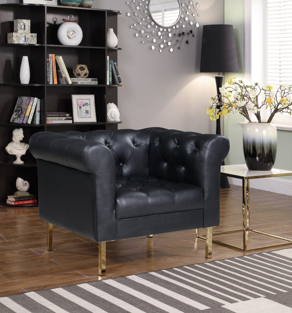 Iconic Home Giovanni Dominic Mateo Julian Noah Club Chair PU Leather Upholstered Button Tufted Gold Tone Metal Legs Black Main Image