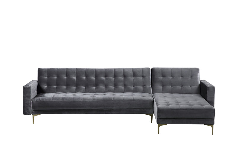 Iconic Home Amandal Right Facing Sectional Sofa Sleeper Bed Velvet Upholstered Goldtone Y-Leg Grey