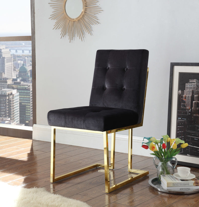 Iconic Home Liam Velvet Button Tufted Polish Metal Frame Dining Side Chair Black (Set of 2)
