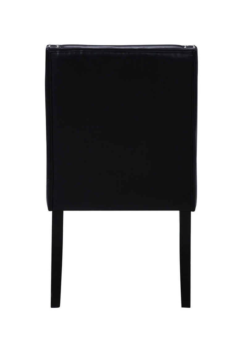 Iconic Home Lincoln Dining Side Chair PU Leather Upholstery Nailhead Trim Wood Legs Black (Set of 2)