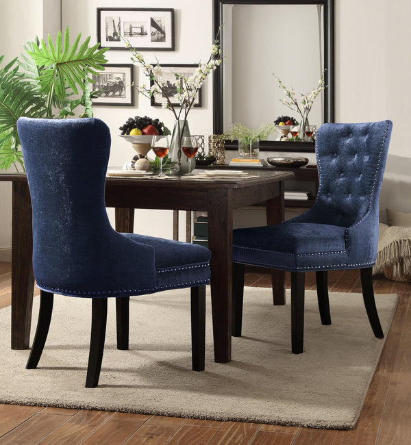 Iconic Home Diana Victoria Charlotte Elizabeth Catherine Dining Chair Button Tufted Velvet Upholstery Espresso Wood Legs Blue (Set of 2) Main Image