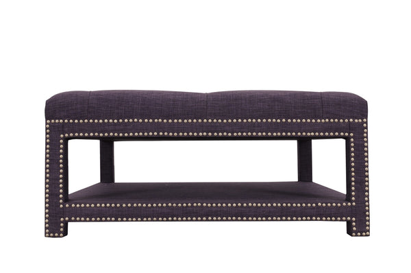 Iconic Home Bina Coffee Table Ottoman Tufted Linen Upholstered Nailhead Trim 2 Layer Bench Purple