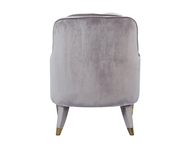 Iconic Home Tzivia Accent Club Chair Sleek Velvet Upholstered Plush Cushion Brass Tip Legs Grey