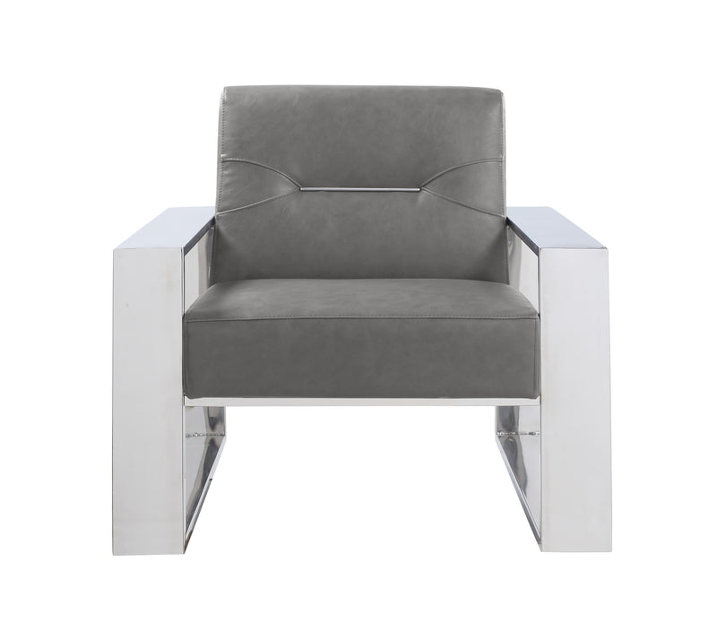 Iconic Home Colton Accent Club Chair PU Leather Upholstered Nickel Stainless Steel Frame Grey