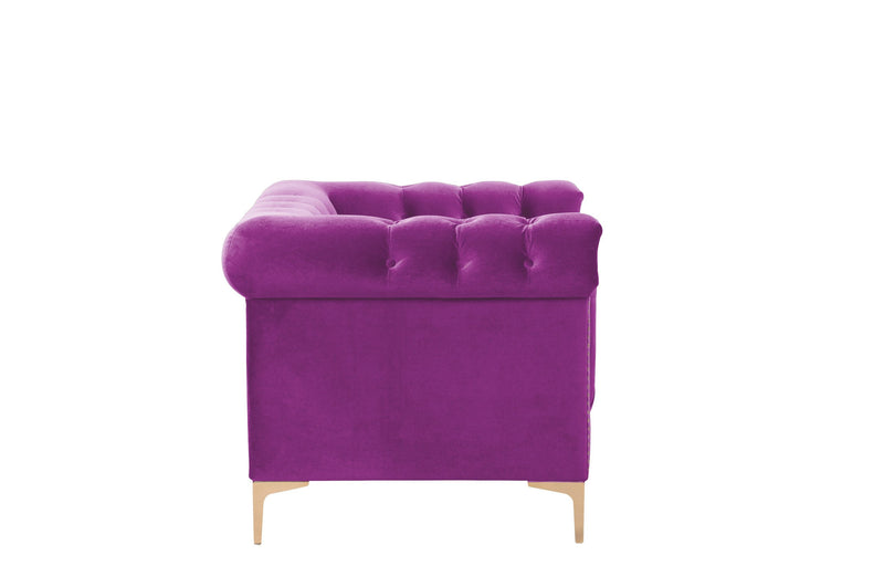 Iconic Home Bea Velvet Button Tufted Nailhead Trim Goldtone Metal Y-Legs Accent Club Chair Purple