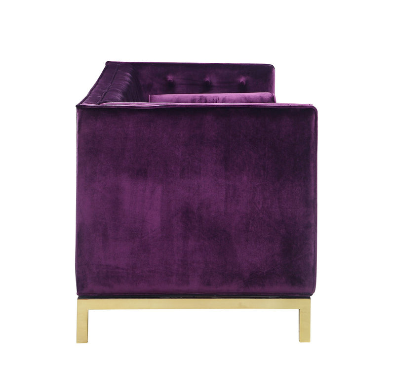 Iconic Home Dafna Club Sofa Tufted Velvet Brass Finished Stainless Steel Brushed Metal Frame Purple