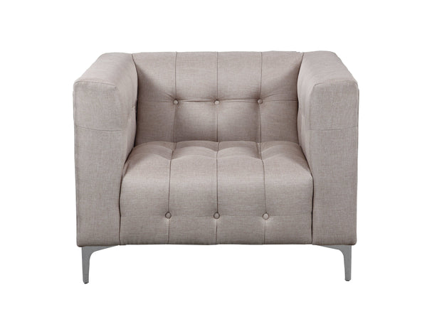 Iconic Home Capone Linen Biscuit Tufted Silvertone Metal Y-Leg Accent Club Chair Stone