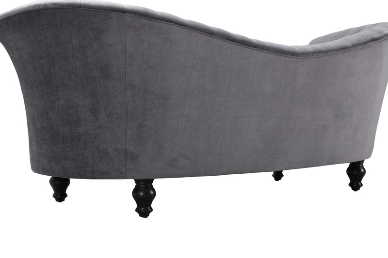 Iconic Home Mont Blanc Kidney Sofa Velvet Upholstered Flared Shelter Arms Turned Wood Legs Grey