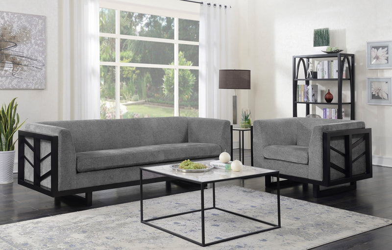 Iconic Home Arianna Linen Textured Espresso Frame Sofa Grey
