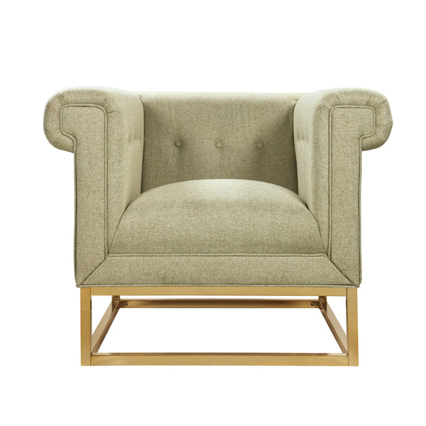 Iconic Home Palmira Button Tufted Rolled Arm Accent Club Chair Beige