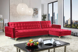 Iconic Home Amandal Aziz Gerwyn Kiefer Darwood Right Facing Sectional Sofa Sleeper Bed Velvet Upholstered Goldtone Y-Leg Red Main Image
