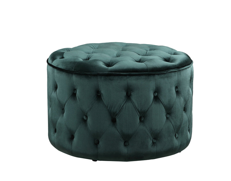 Iconic Home Batya Ottoman Button Tufted Velvet Upholstered Round Pouf Green