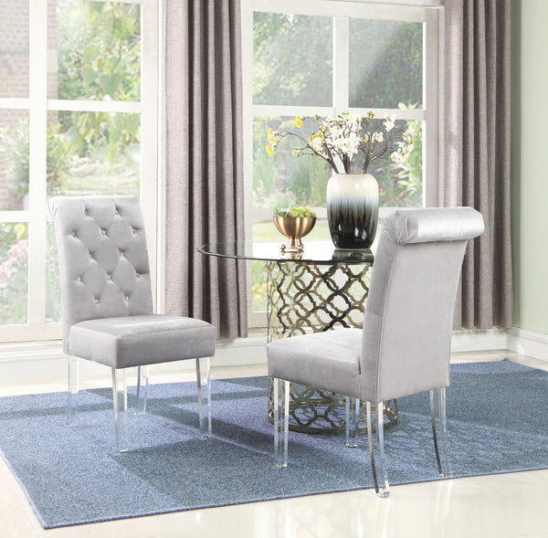 Iconic Home Sharon Sharyn Helga Tate Metzger Dining Side Chair Button Tufted Velvet Upholstered Acrylic Legs Silver (Set of 2) Main Image