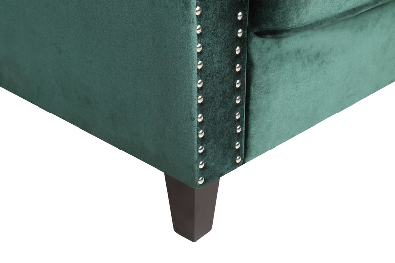 Iconic Home Camren Accent Chair Velvet Upholstered Nailhead Trim Tapered Espresso Wood Legs Green