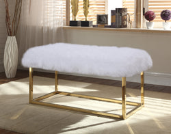 Iconic Home Marilyn Sophia Audrey Carolyn Anne Faux Fur High Polish Metal Frame Ottoman Bench White Main Image