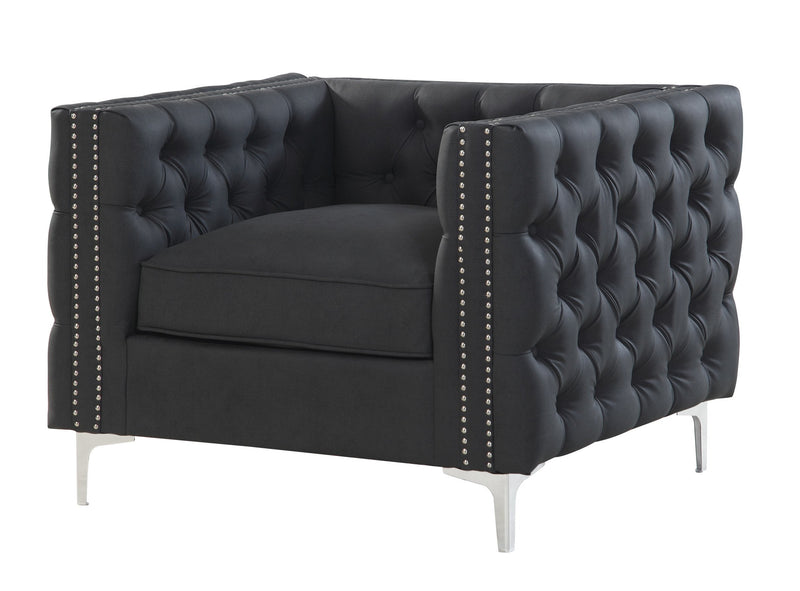 Iconic Home Da Vinci Button Tufted PU Leather Upholstered Nail Head Trim Accent Club Chair Black