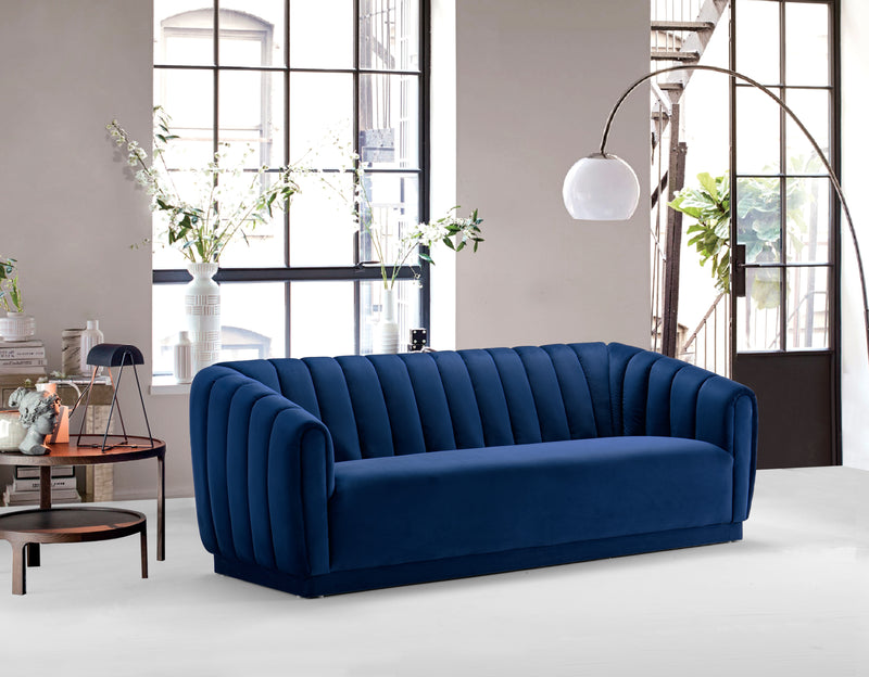 Iconic Home Van Gogh Matisse Botticelli Warhol Rembrandt Sofa Velvet Upholstered Vertical Channel-Quilted Shelter Arm Design Navy Main Image