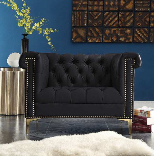Iconic Home Winston Dwight MacArthur Patton Custer PU Leather Button Tufted Accent Club Chair Black Main Image