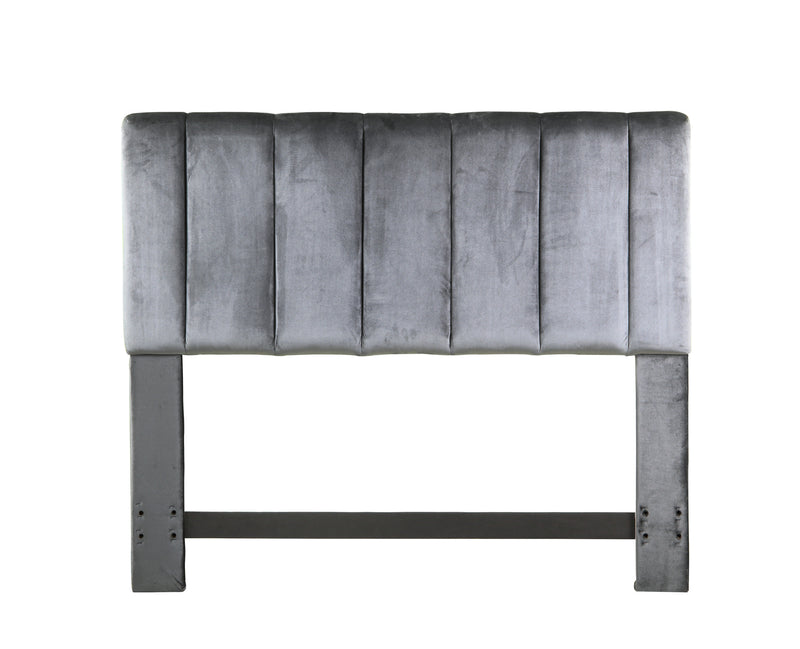 Iconic Home Uriella Headboard Velvet Upholstered Vertical Striped Grey