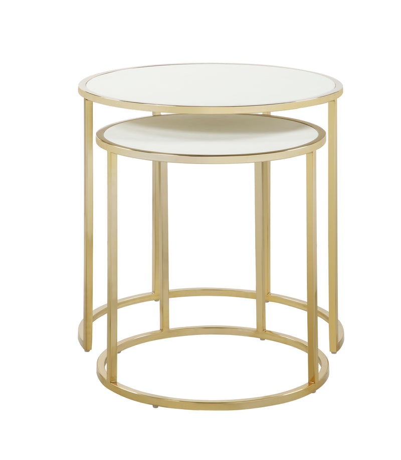 Iconic Home Tuscany Nesting Table 2 Piece PU Leather Top Gibbous Moon Gold Solid Metal Frame Cream