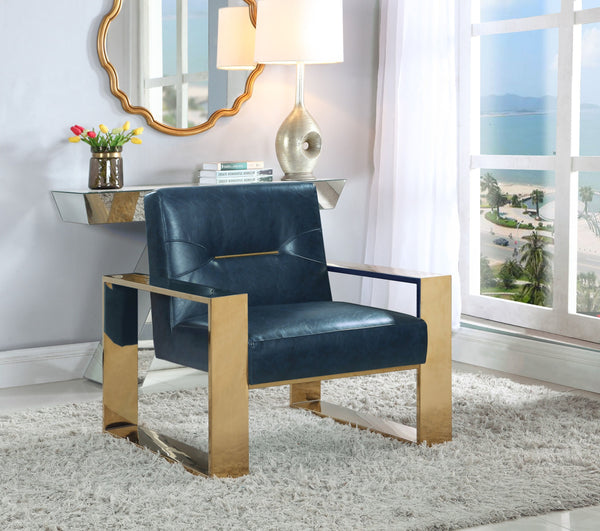 Iconic Home Colton Miel Iñigo Stefan Nicholas Accent Club Chair PU Leather Upholstered Sculptural Brass Finished Stainless Steel Frame Navy Main Image