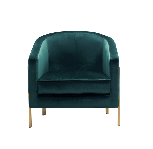 Iconic Home Monte Accent Club Chair Velvet Cushion Seat Brushed Brass Stainless Steel Frame Green