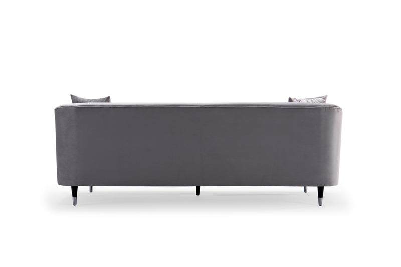 Iconic Home Julia Sofa Velvet Upholstered Button Tufted Shelter Arm Design Gold Tip Wood Legs Silver